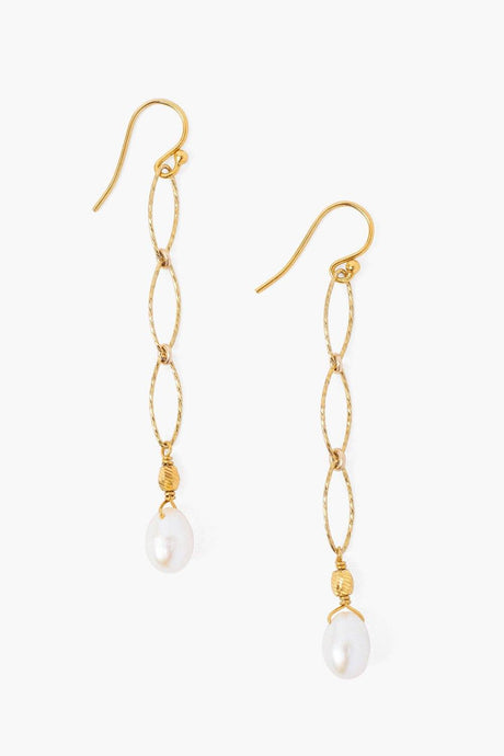Gold Chain Link Pearl Earrings