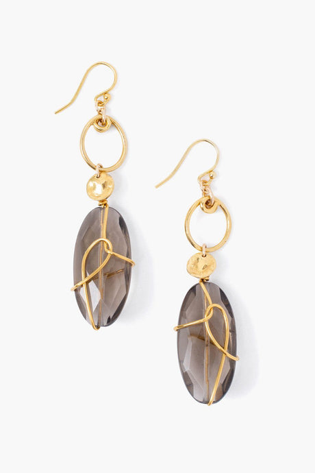 Smokey Quartz Caged Earrings