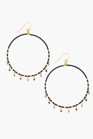 Black Mix Seed Bead Hoops