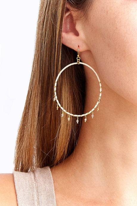 Cream Mix Seed Bead Hoops