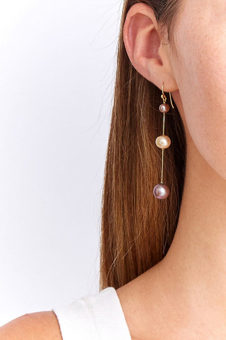 Champagne Pearl Mix Trinity Earrings