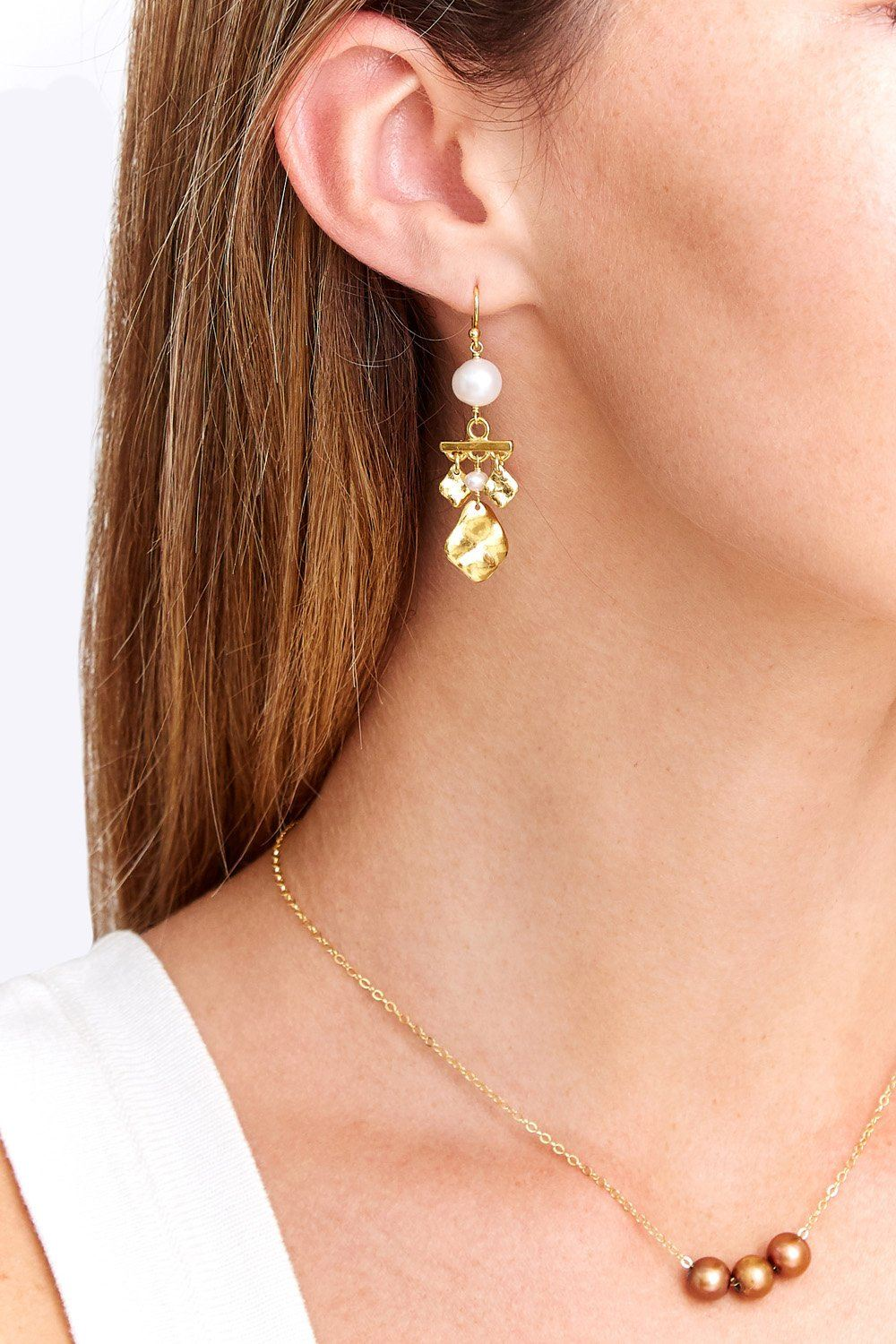Gold Coin and Pearl Chandelier Earrings