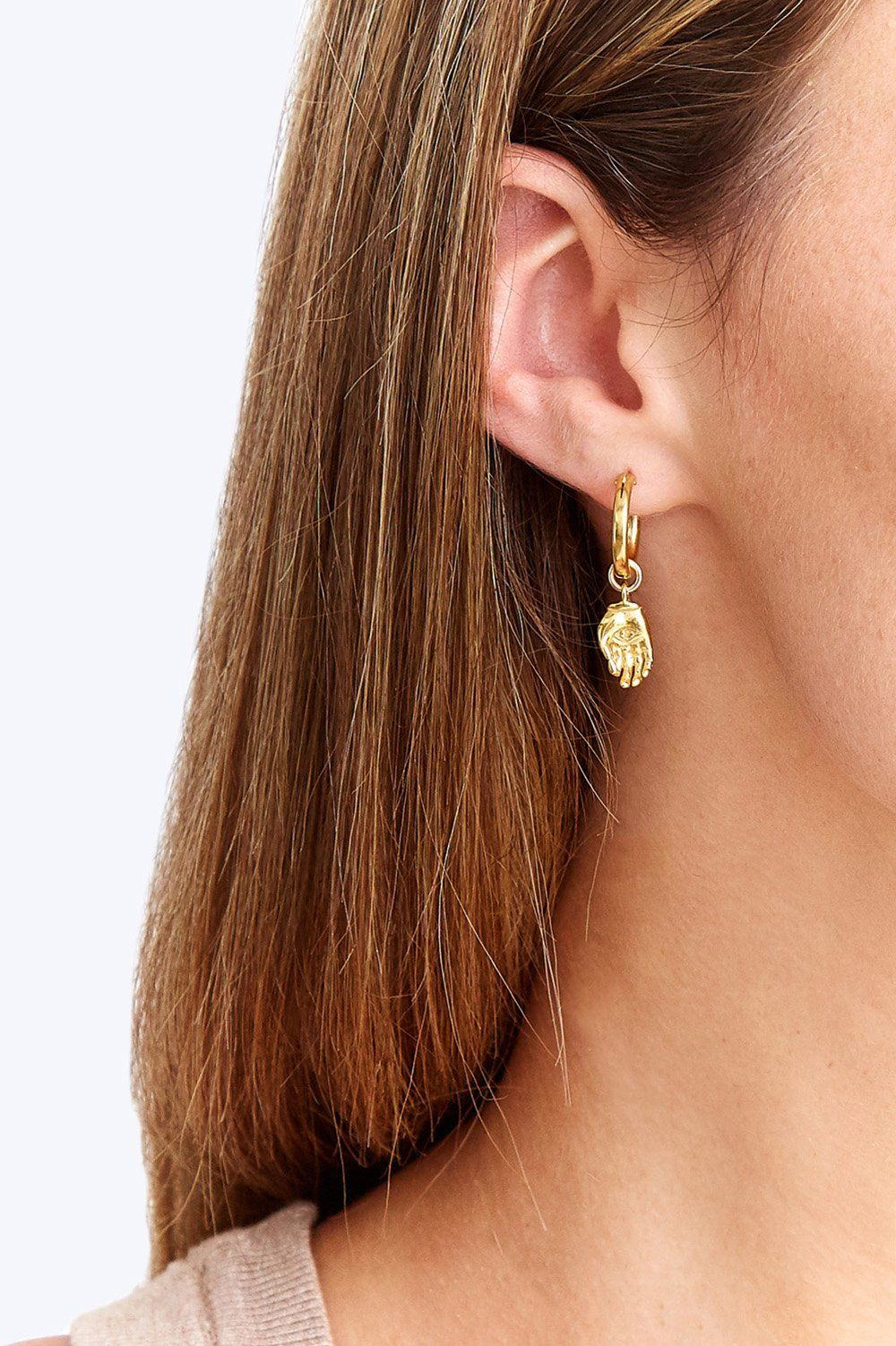 Gold Mano Hoop Earrings