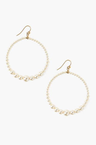 Cream Pearl Floating Hoop Earrings