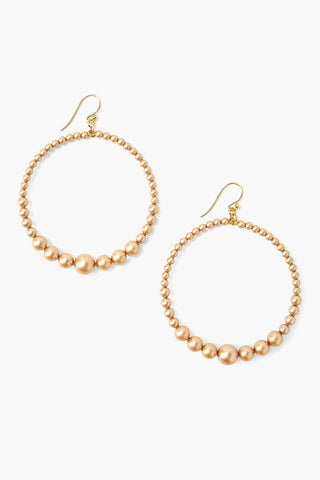 Gold Pearl Floating Hoop Earrings