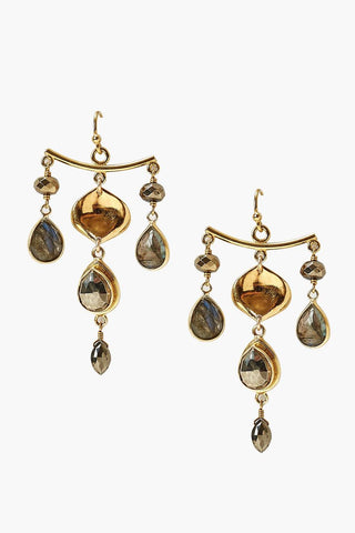 Pyrite Mix Chandelier Earrings