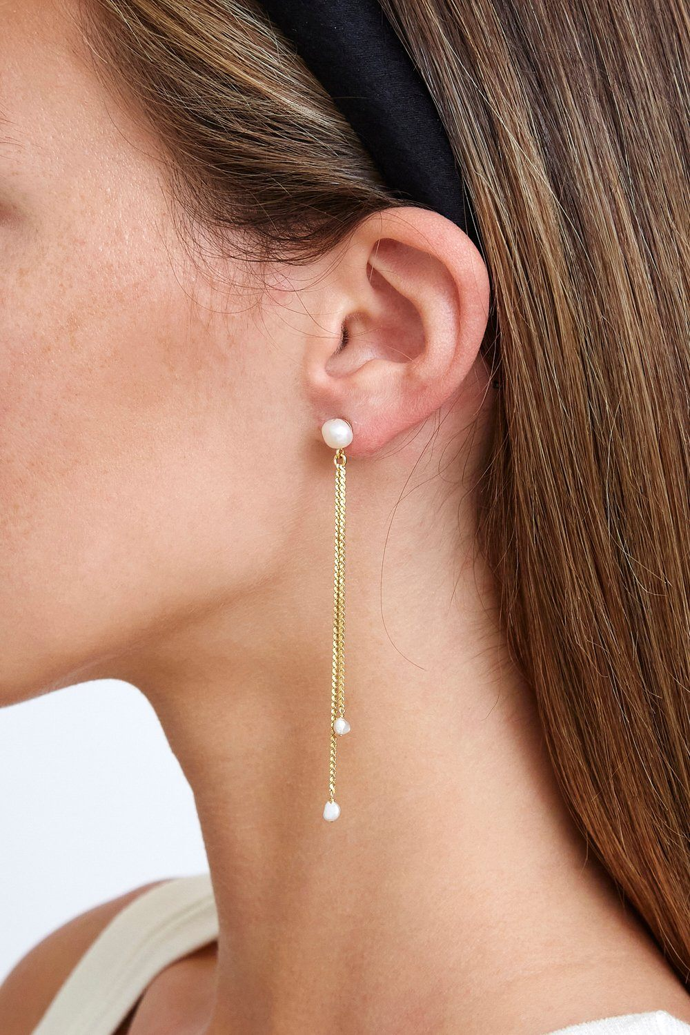 Gold Rope and Pearl Duster Earrings