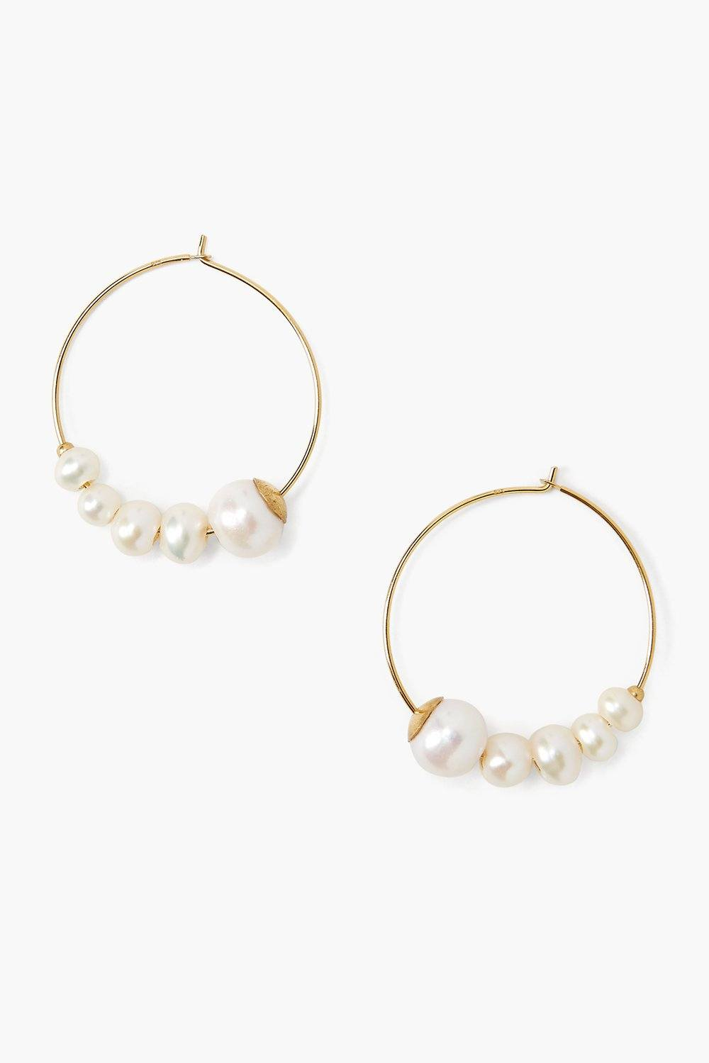 Graduated White Pearl Hoop Earrings