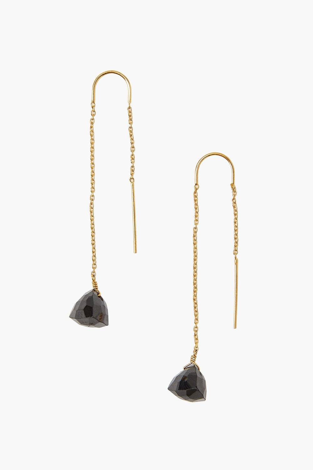 Black Spinel Thread-Thru Earrings