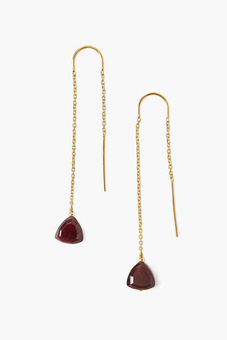 Red Garnet Thread-Thru Earrings