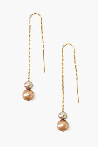 Ombré  Champagne Pearl Thread-Thru Earrings