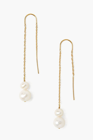 White Pearl Thread-Thru Earrings