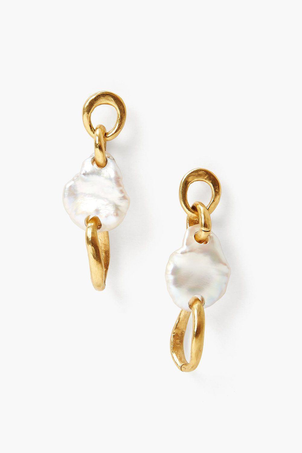 White Pearl Gold Chain Link Earrings