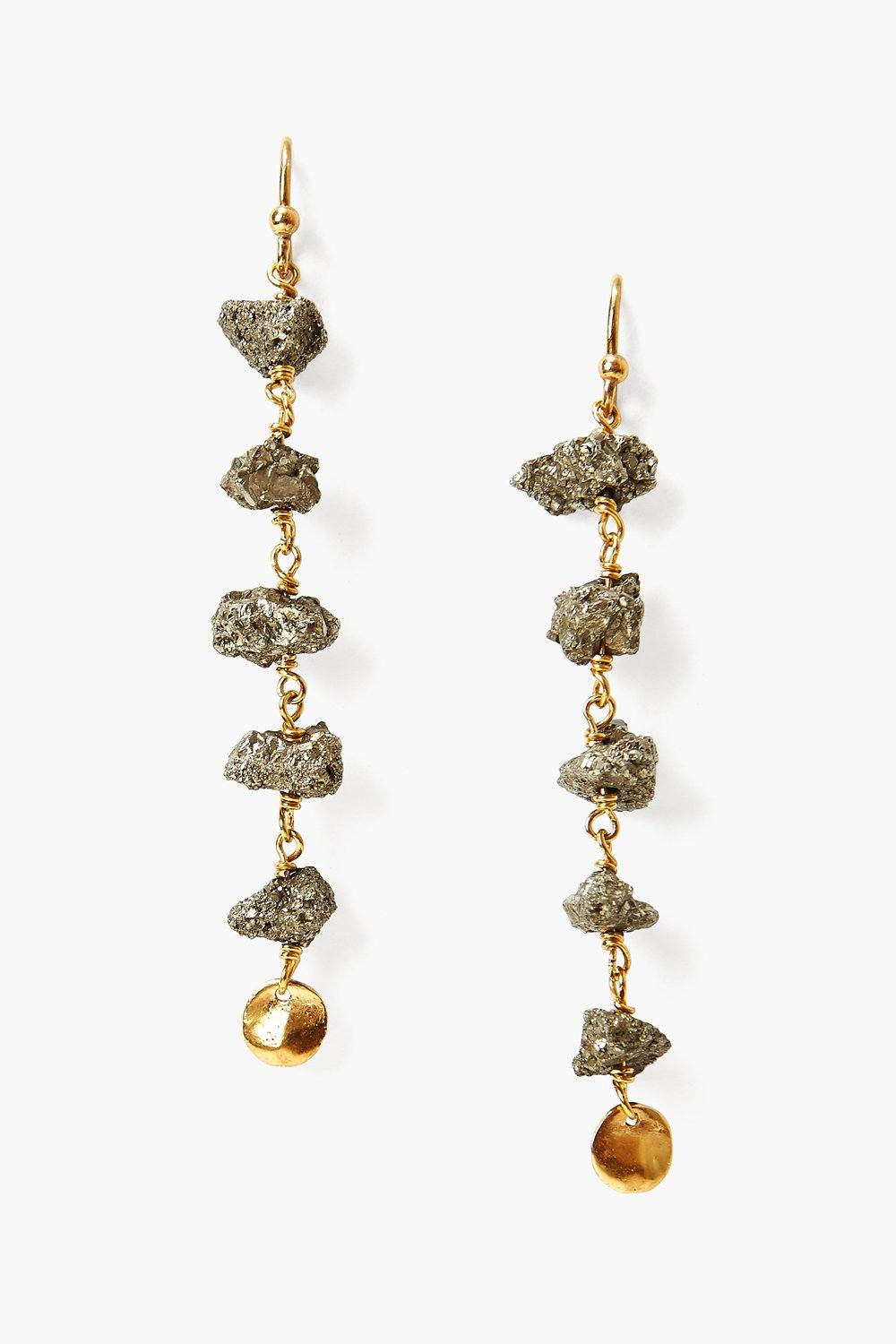 Pyrite and Gold Tiered Earrings