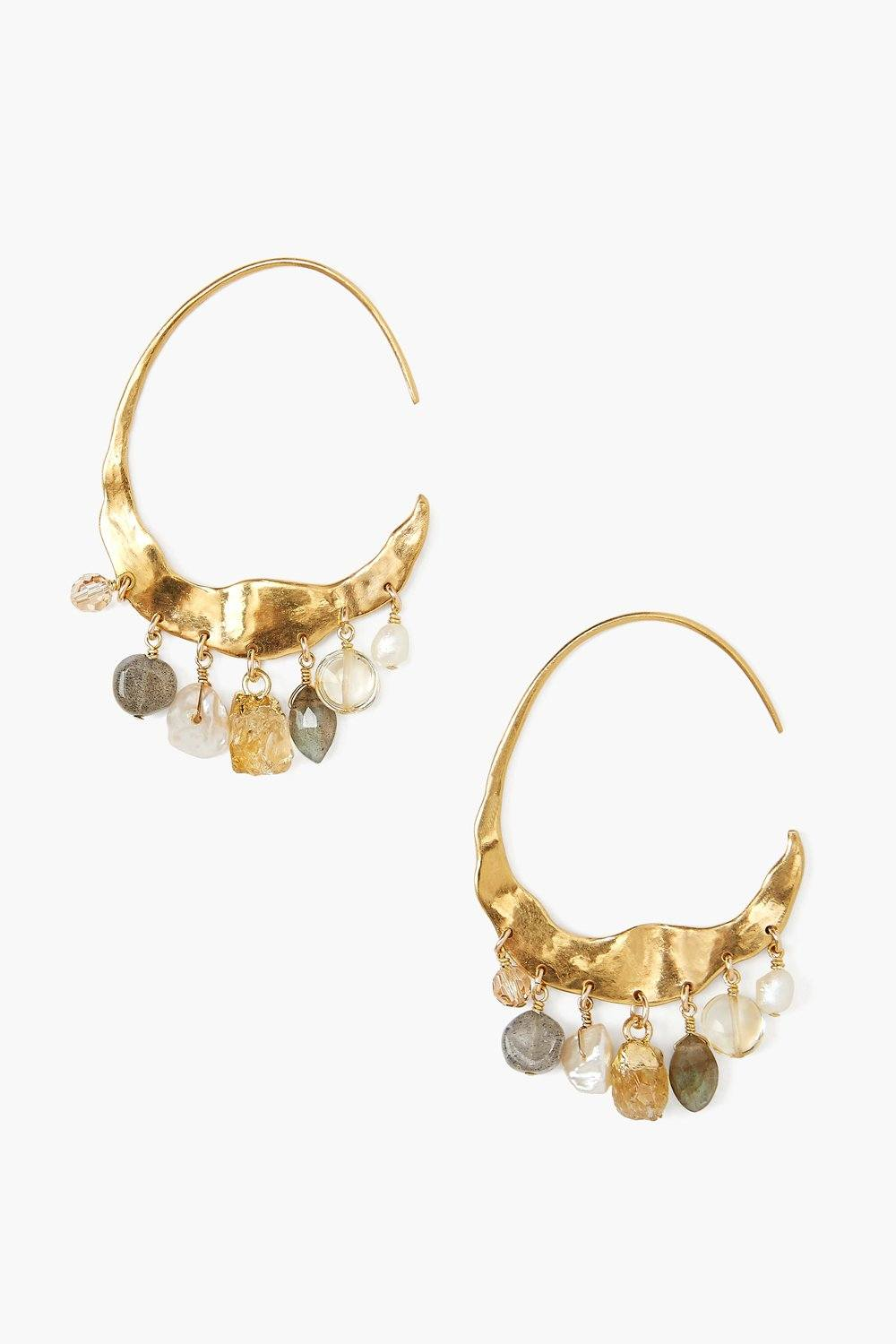 Crescent Cream Pearl and Citrine Mix Gold Hoop Earrings