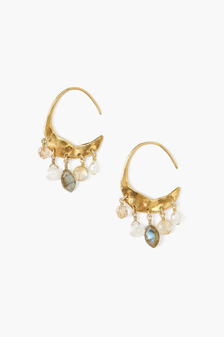 Petite Crescent White Pearl and Citrine Mix Gold Hoop Earrings