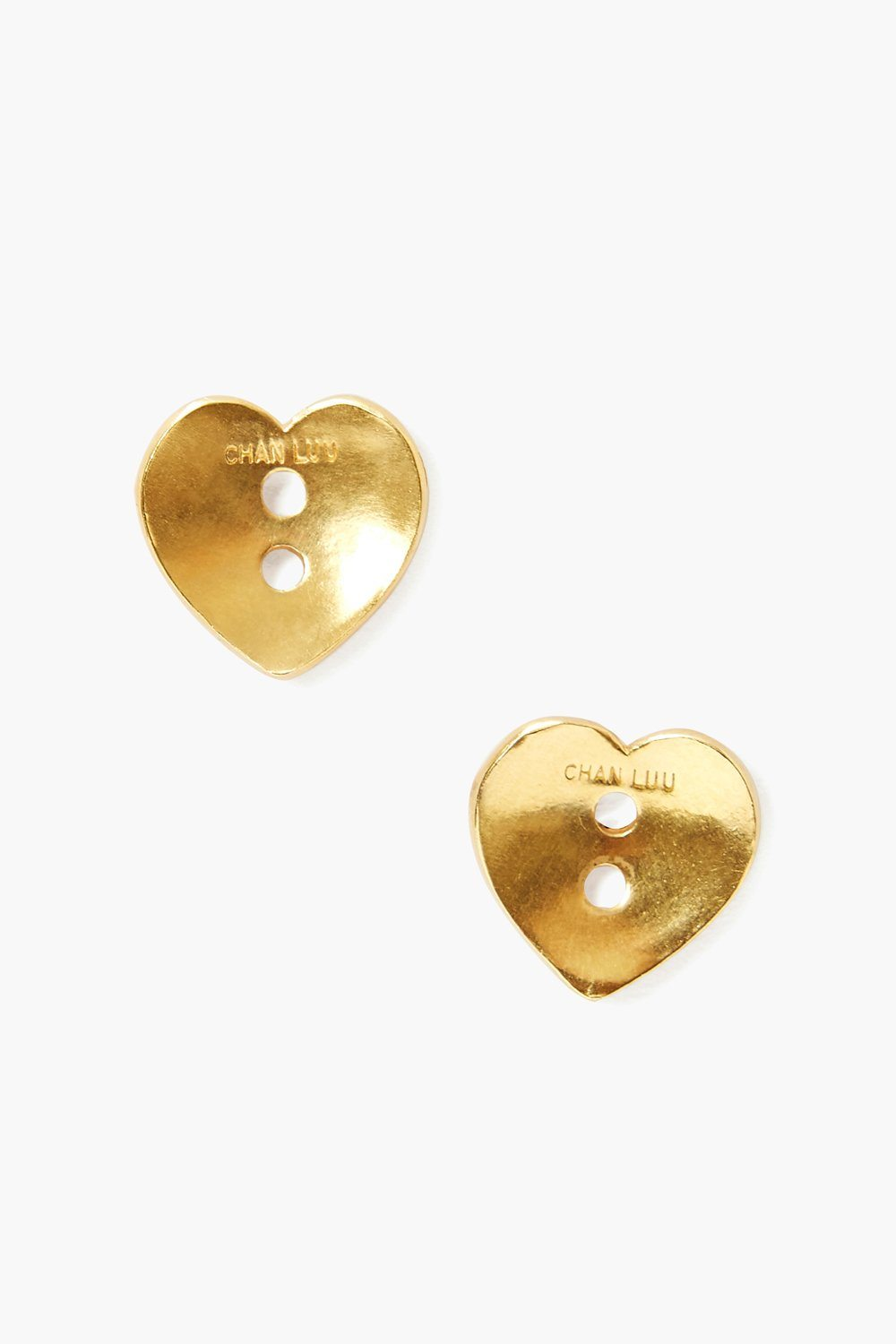 Gold Heart Button Earrings