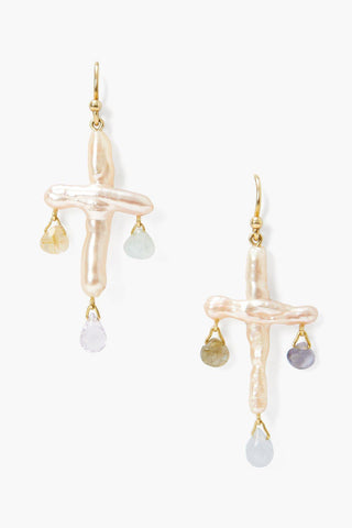 Pink Baroque Pearl Cross Chandelier Earrings