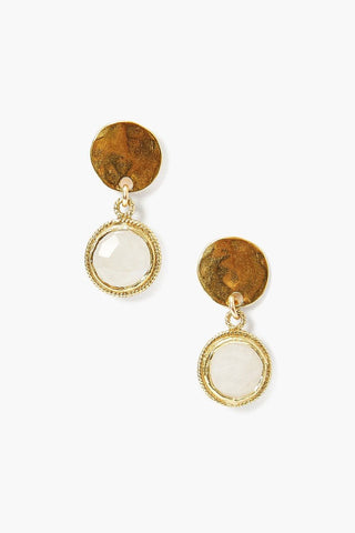 Tiered Moonstone Coin Earring