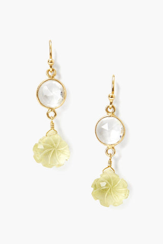 Lemon Topaz and Quartz Flower Earrings