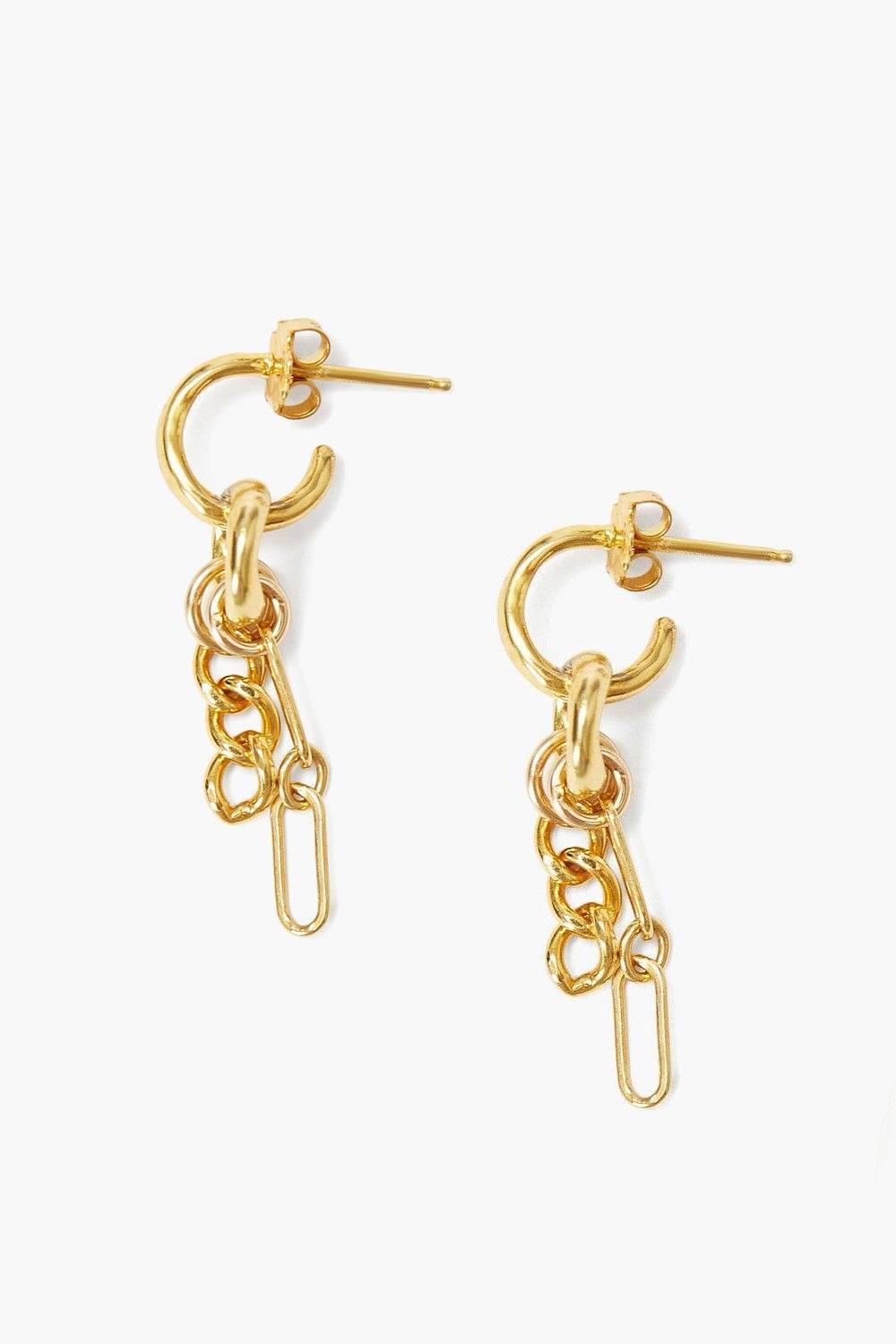 Gold Cable Chain Earrings