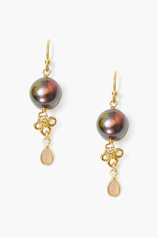 Peacock Pearl and Moonstone Loop Earrings