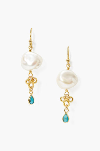 White Pearl and Turquoise Loop Earrings