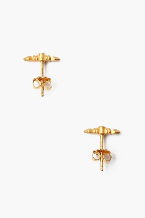 Yellow Gold Bullet Stud Earrings With Champagne Diamond