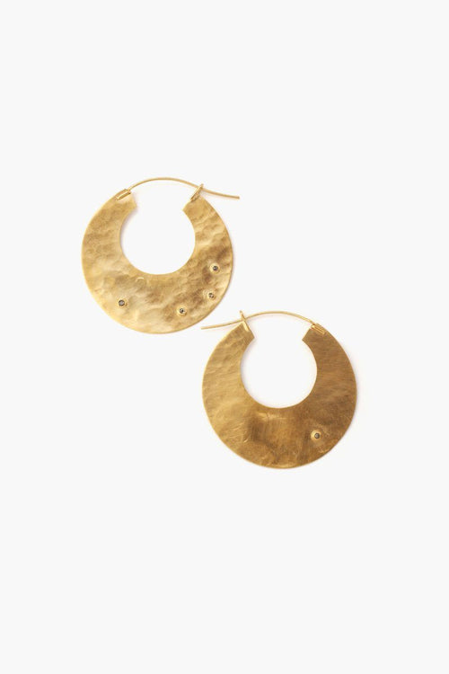 Gold Disc Champagne Diamond Hammered Hoop Earrings