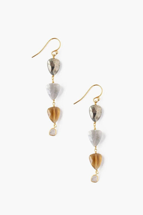 Tiered Whiskey Quartz Mix Earrings