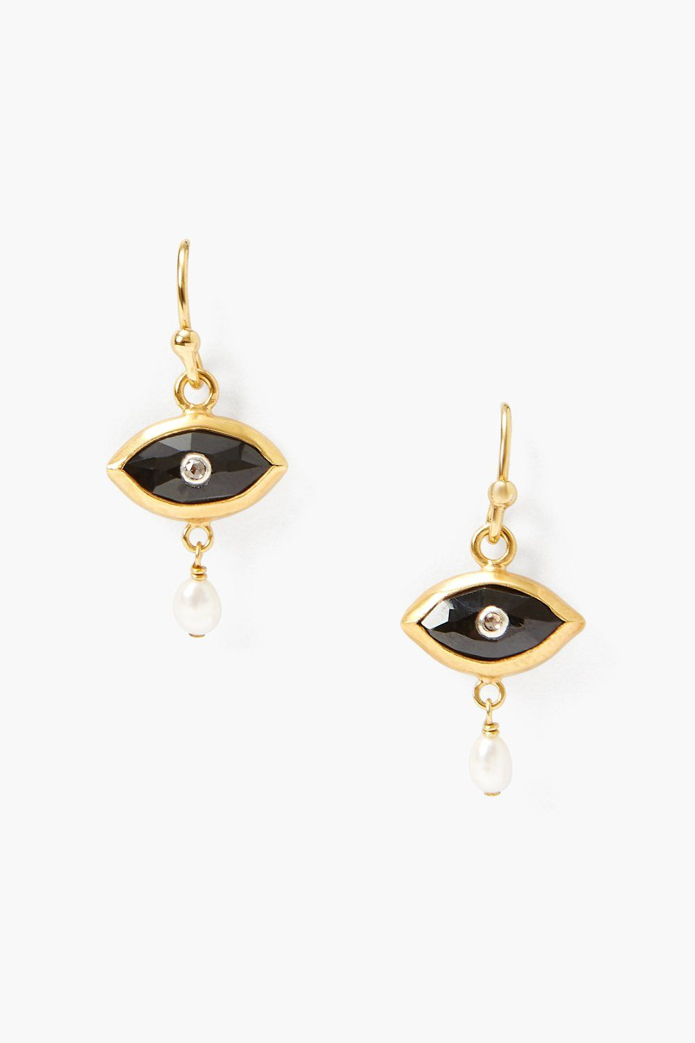 Pearl and Black Spinel Evil Eye with Champagne Diamond Earrings