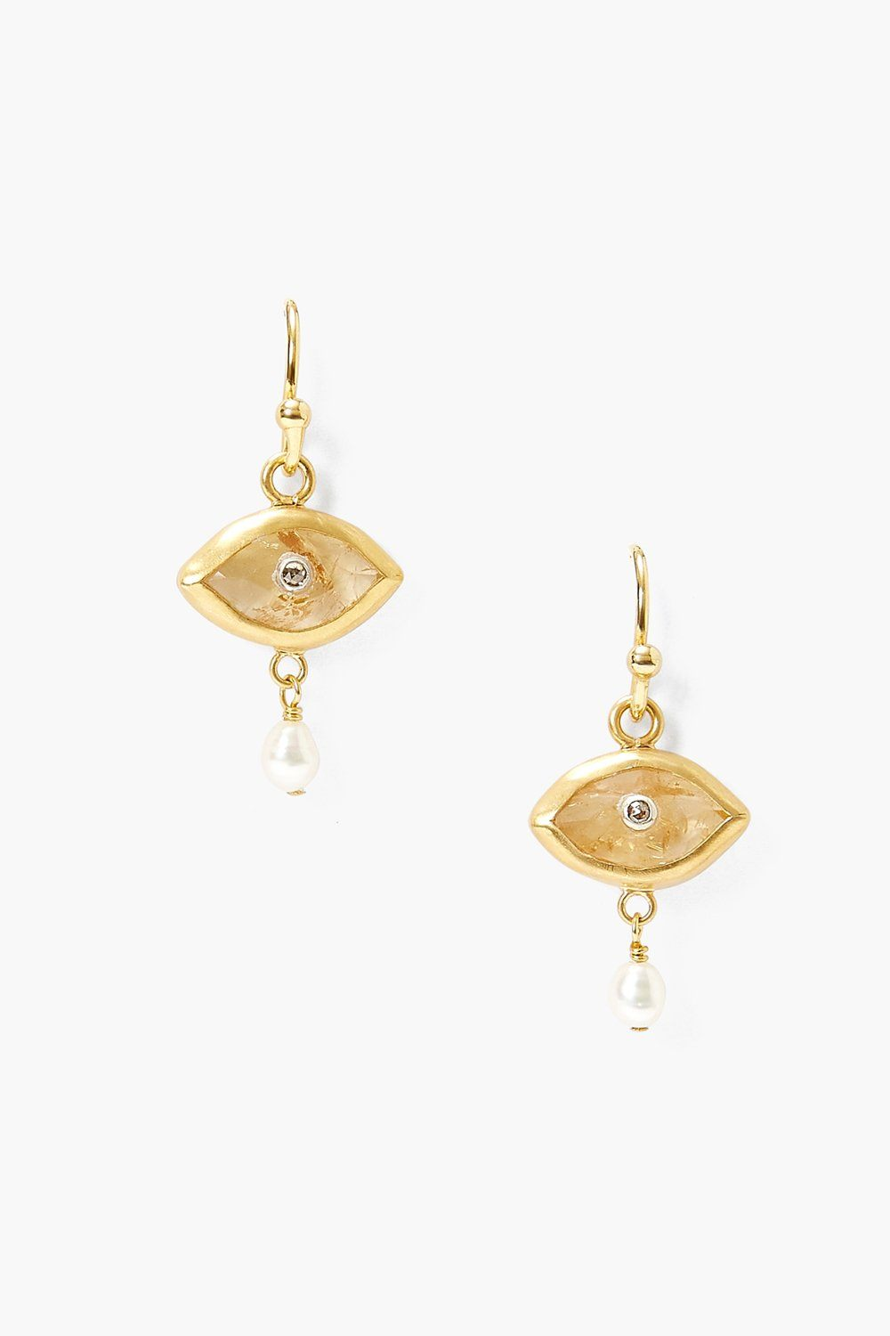 Pearl and Citrine Evil Eye with Champagne Diamond Earrings