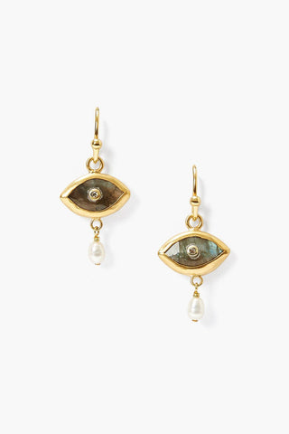 Pearl and Labradorite Evil Eye with Champagne Diamond Earrings