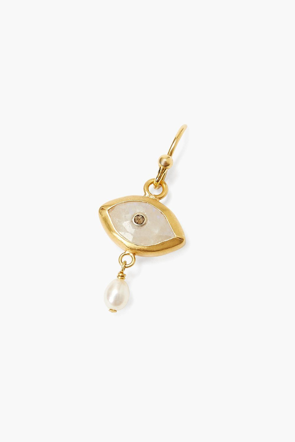 Pearl and Rainbow Moonstone Evil Eye with Champagne Diamond Earrings