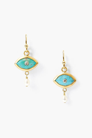 Pearl and Turquoise Evil Eye with Champagne Diamond Earrings