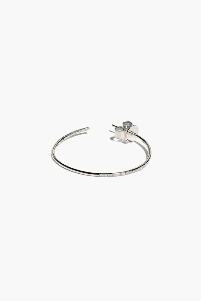White Diamond White Gold Medium Hoop Earrings