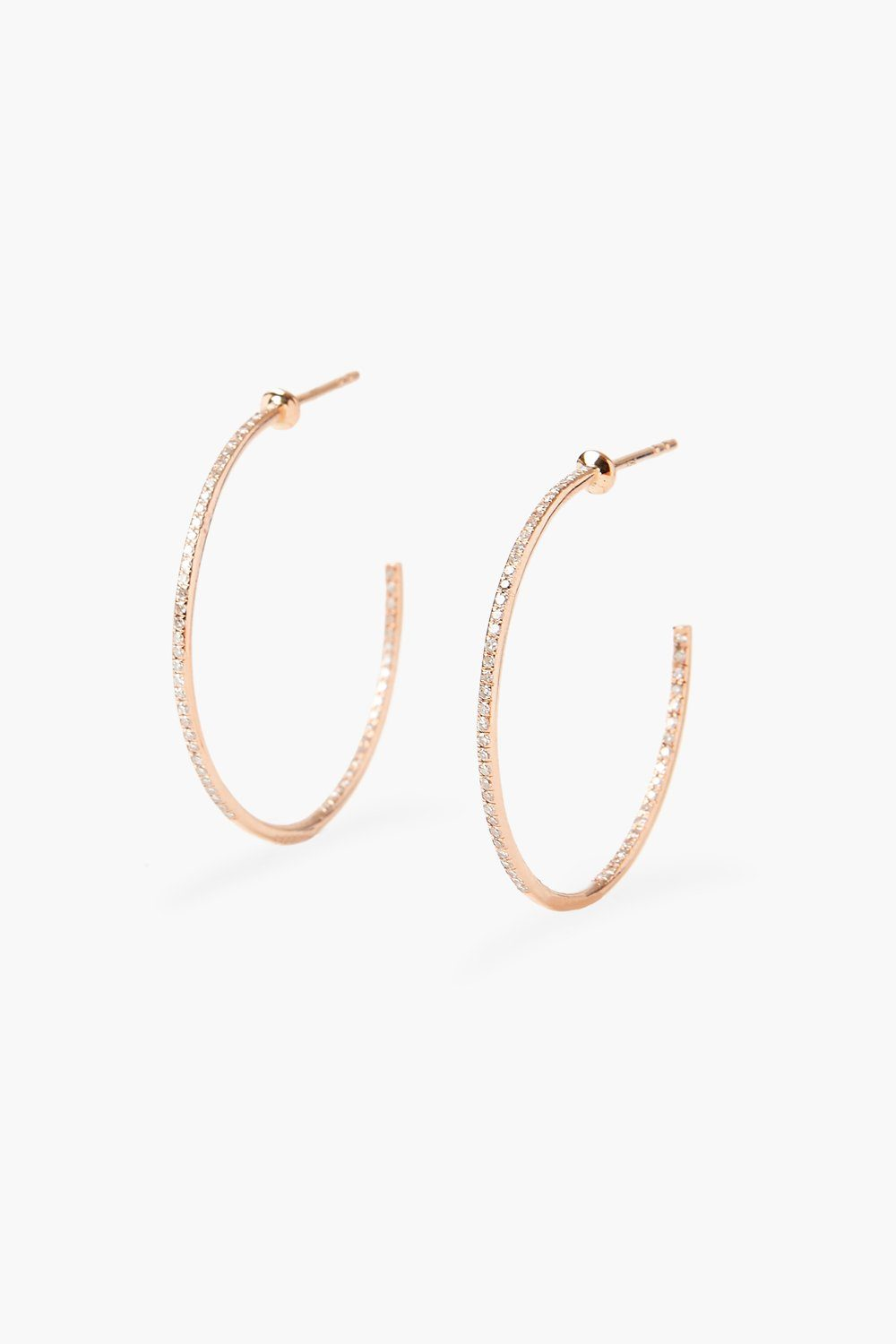 White Diamond Rose Gold Medium Hoop Earrings