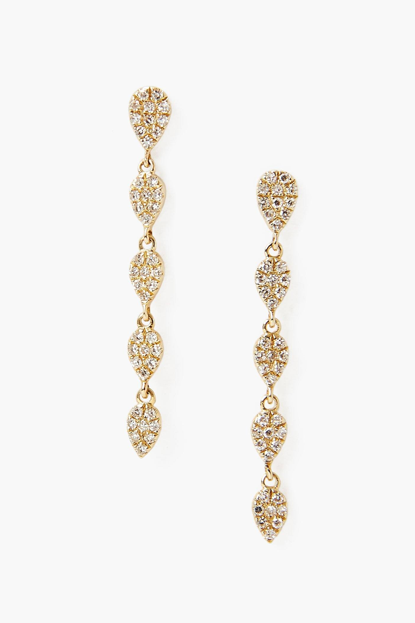 14k 5 Tier Drop Earring with Pavé Diamond