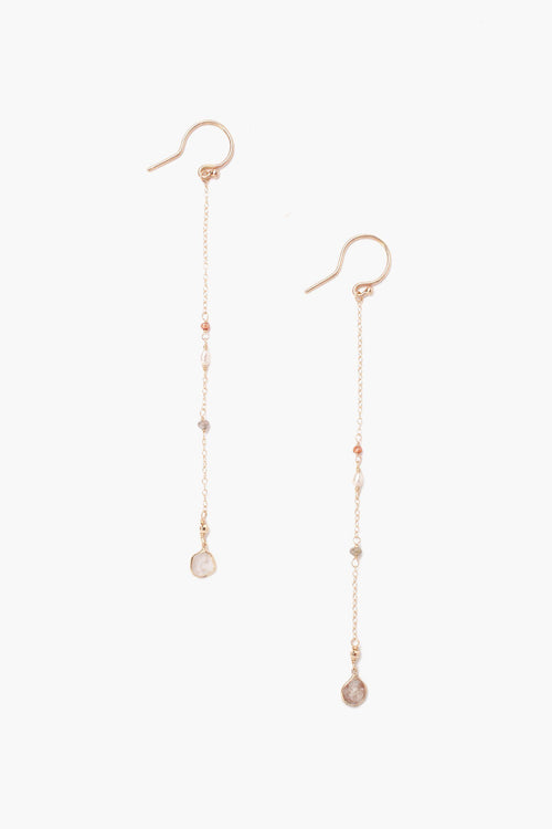 Sliced Champagne Diamond and Freshwater Pearl Earrings