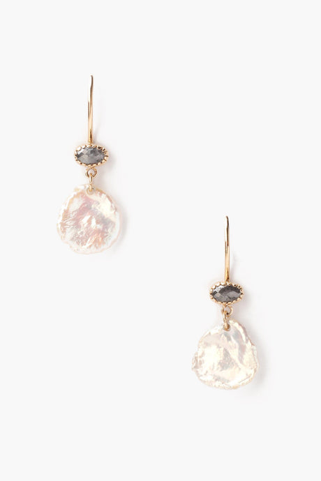 Keshi Pearl and Champagne Diamond Earrings
