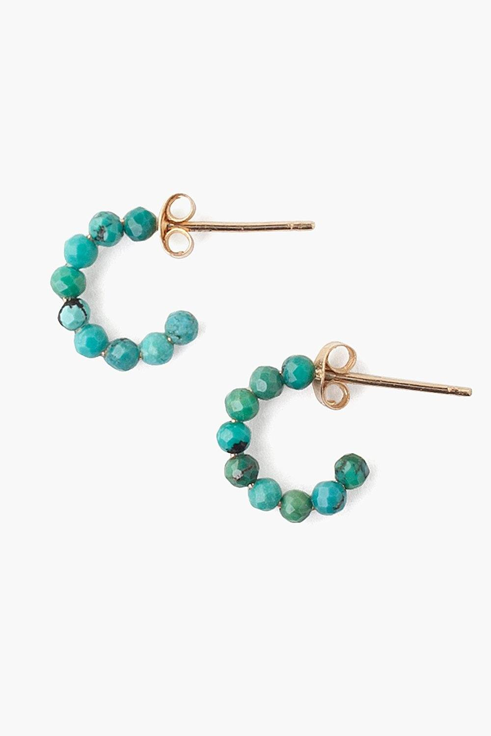 14k Turquoise Holly Hoop Earrings