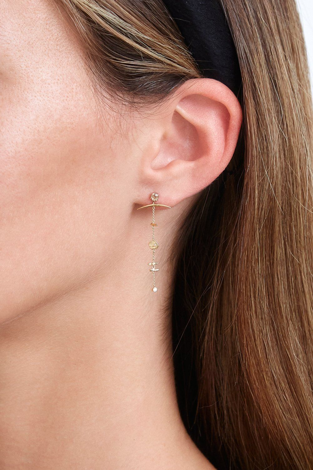 14K Gold Tiered Horn and Diamond Earrings