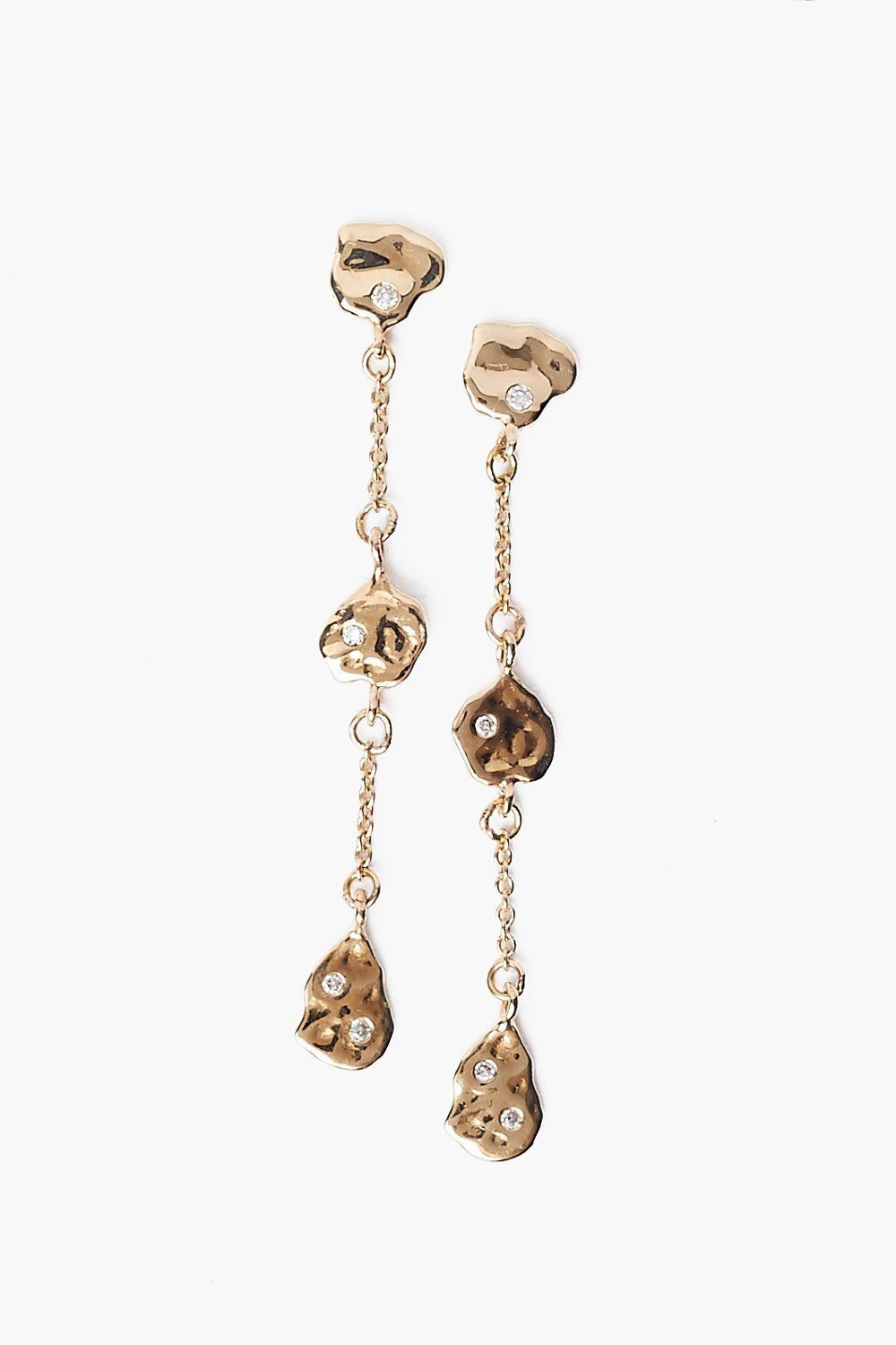 14k Gold Tiered Coin and Diamond Earrings