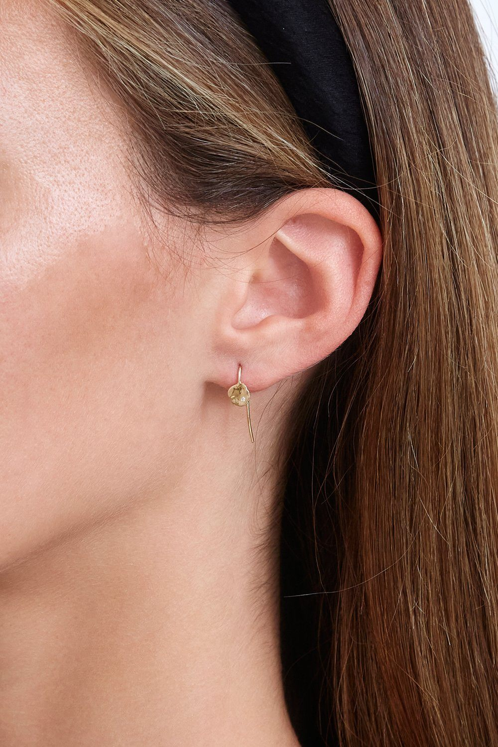 14k Gold Coin and Diamond Earrings