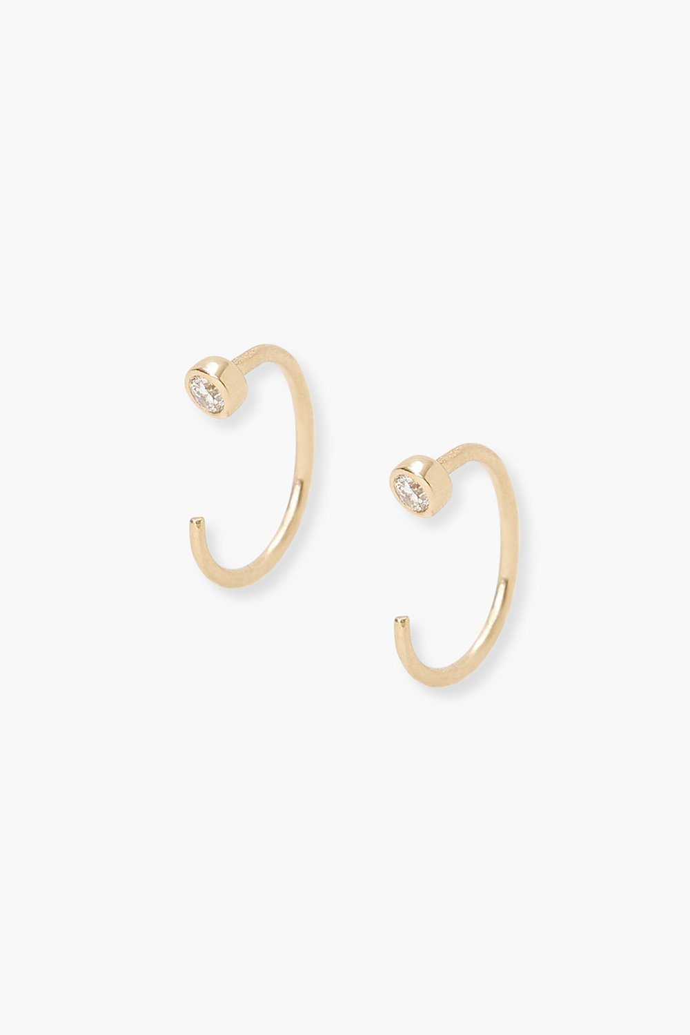 14k Gold Round Diamond Ear Cuff Earrings