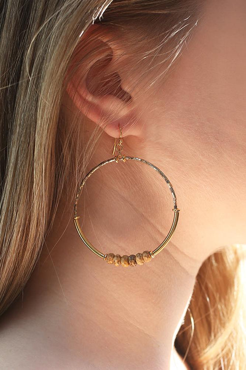 Picture Jasper Hoop Earrings