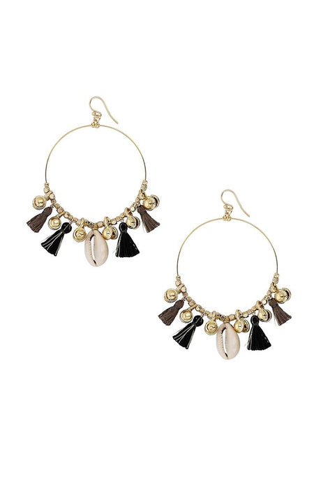 Black Mix Charm Tassel Hoop Earrings