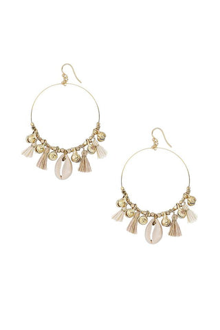 Cream Mix Charm Tassel Hoop Earrings