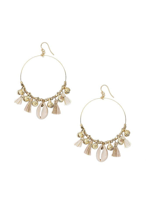 Cream Mix Charm Tassel Hoops
