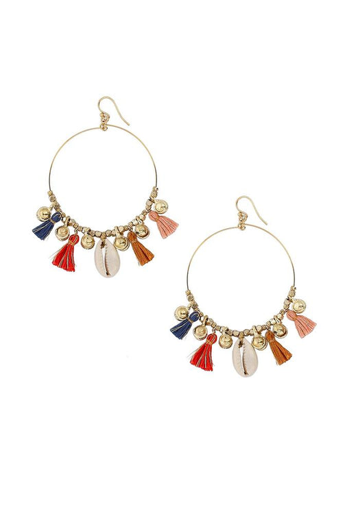 Multi Mix Charm Tassel Hoop Earrings